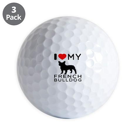 I Love My French Bulldog Golf Balls
