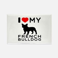 I Love My French Bulldog Rectangle Magnet