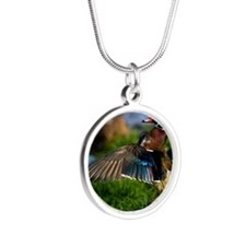 (15) Wood Duck Wing Silver Round Necklace