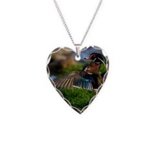 (15s) Wood Duck Wing Necklace Heart Charm