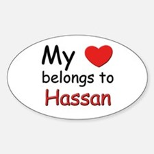 My heart belongs to hassan Oval Decal