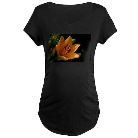 Orange Day Lily Flower Maternity T-Shirt