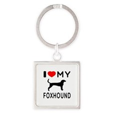I Love My Foxhound Square Keychain