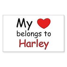 My heart belongs to harley Rectangle Decal