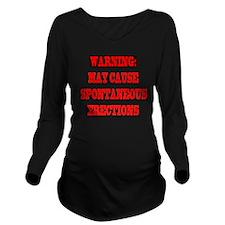 4-CAUTION.SPON.ERECT Long Sleeve Maternity T-Shirt