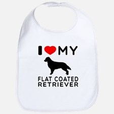 I Love My Flat Coated Retriever Bib