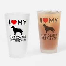 I Love My Flat Coated Retriever Drinking Glass