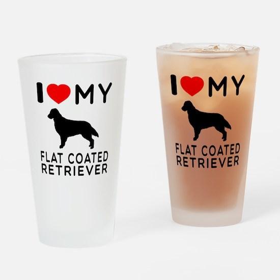 I Love My Flat Coated Retriever Drinking Glass