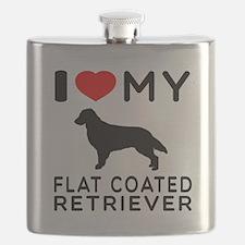 I Love My Flat Coated Retriever Flask