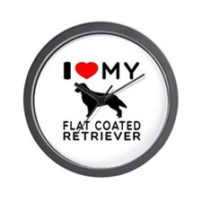 I Love My Flat Coated Retriever Wall Clock