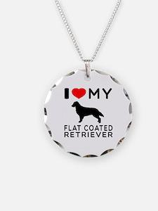 I Love My Flat Coated Retriever Necklace