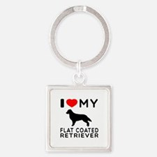 I Love My Flat Coated Retriever Square Keychain