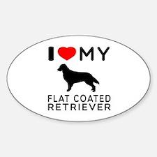 I Love My Flat Coated Retriever Sticker (Oval)