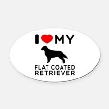 I Love My Flat Coated Retriever Oval Car Magnet
