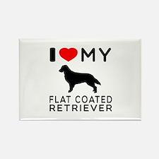 I Love My Flat Coated Retriever Rectangle Magnet