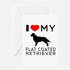I Love My Flat Coated Retriever Greeting Cards (Pk