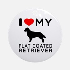 I Love My Flat Coated Retriever Ornament (Round)