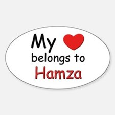 My heart belongs to hamza Oval Decal
