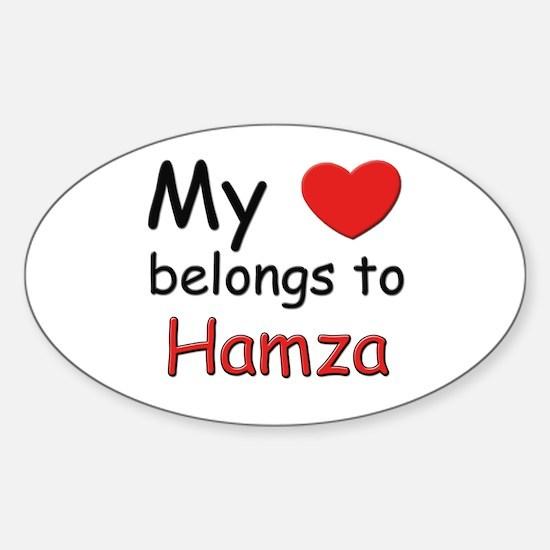 My heart belongs to hamza Oval Decal