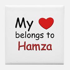 My heart belongs to hamza Tile Coaster