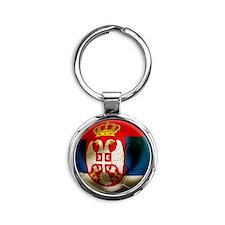 Serbia Football Round Keychain