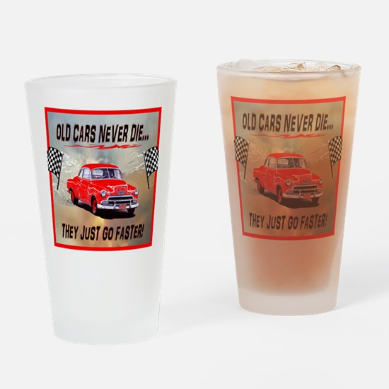 Old Cars Never Die! (12 x 12) Flags Drinking Glass