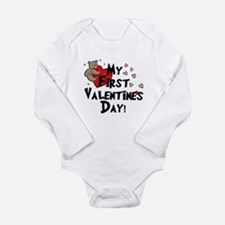 First Valentine's Bear Heart Body Suit