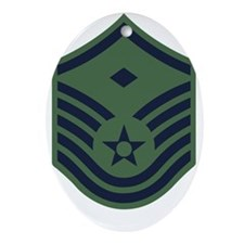 USAF-First-MSgt-Woodland Oval Ornament