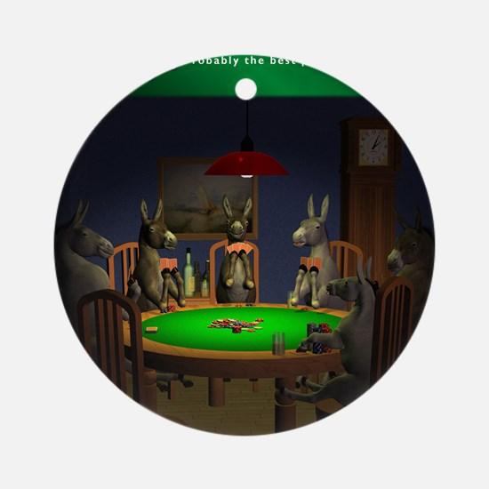 T0038A-DonkeysBestTable-2000x2000 Round Ornament