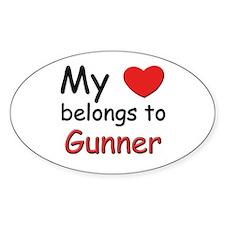 My heart belongs to gunner Oval Decal
