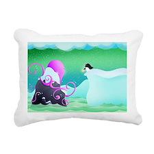 The octopus and penguin Rectangular Canvas Pillow