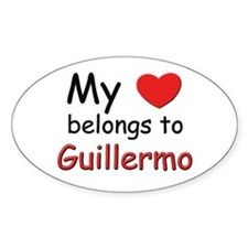 My heart belongs to guillermo Oval Decal