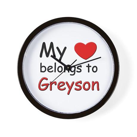 My heart belongs to greyson Wall Clock