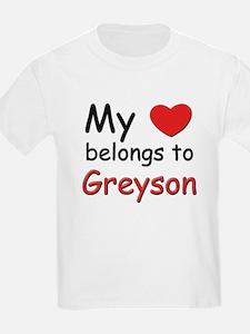 My heart belongs to greyson Kids T-Shirt