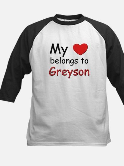 My heart belongs to greyson Kids Baseball Jersey