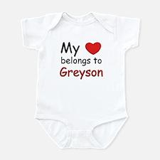 My heart belongs to greyson Infant Bodysuit