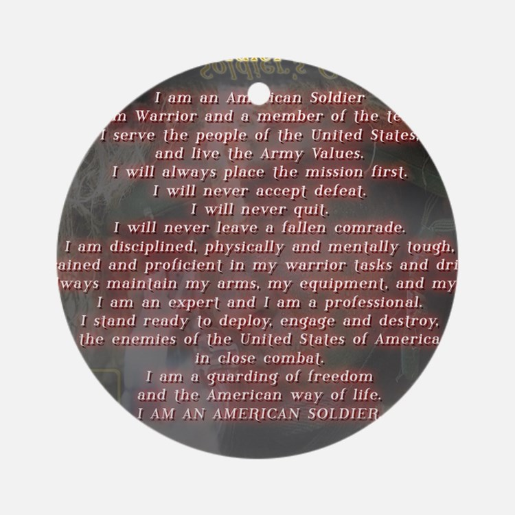 2-Soldiers Creed Round Ornament