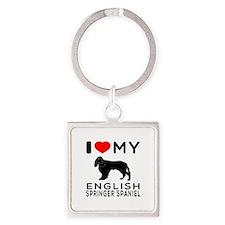 I Love My English Springer Spaniel Square Keychain