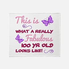 Fabulous 100th Birthday Throw Blanket
