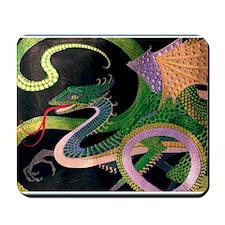 2-dragon tile-Prussian(5) Mousepad