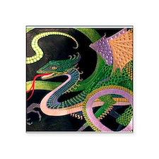 """2-dragon tile-Prussian(5) Square Sticker 3"""" x 3"""""""