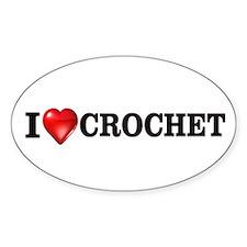 I love crochet Oval Decal