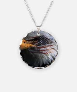 eagle with text Necklace Circle Charm
