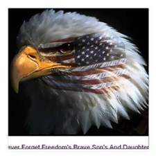 """eagle with text Square Car Magnet 3"""" x 3"""""""