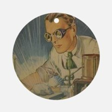 Tom Swift in the Lab Round Ornament