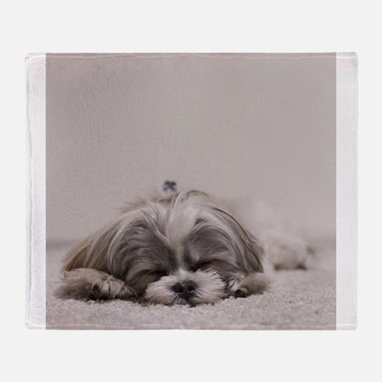 Shih Tzu Puppy Rests Throw Blanket