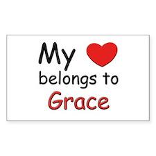 My heart belongs to grace Rectangle Decal