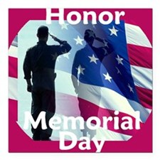 "2-MemorialHonor E Square Car Magnet 3"" x 3"""