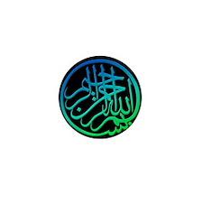 bism_bluegr_on_blk_filla_lg Mini Button