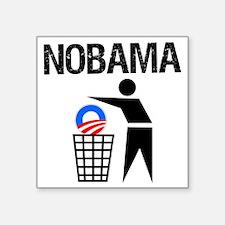 """NoBama-(trash)-white-shirt Square Sticker 3"""" x 3"""""""